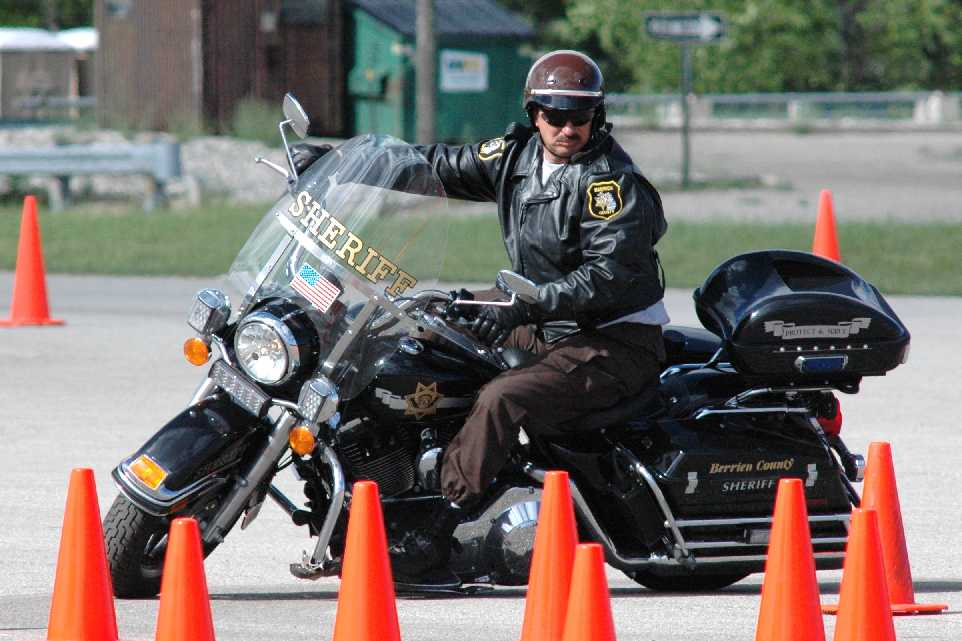 Motor Officer Navigating the Cones