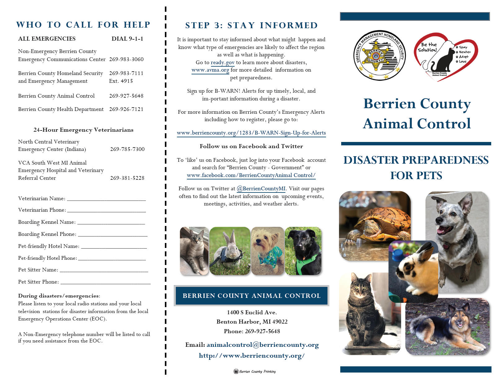 Distaster Preparedness For Pets Flyer Page 1
